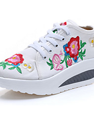 Women's Loafers & Slip-Ons Spring Summer Fall Winter Comfort Novelty Embroidered Shoes Canvas Outdoor Casual Athletic Flat HeelLace-up