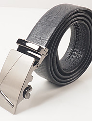Men's leisure fashion black PVC grain of curvature of the automatic buckle With the body is about 3.6 cm wide