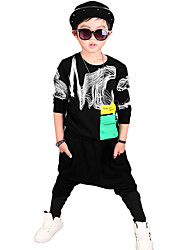 Boy's Going out Casual/Daily Sports Print Cotton Spring/Fall Long Sleeve Blouse Pants 2 Piece Clothing Set Children's Garments