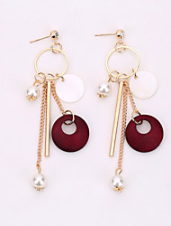 cheap -The European And American Fashion Jewelry Tassel Pearl Earrings Long Shell Decoration Earrings
