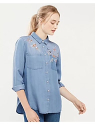 Women's Embroidery Going out Casual/Daily Sexy Simple Street chic Spring Fall Shirt,Solid Animal Print Shirt Collar Long Sleeve Silk Cotton Medium
