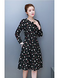 Sign cotton 2017 spring new models large size women's literary waist was thin long-sleeved dress and long sections