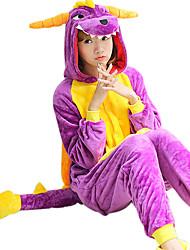 baratos -Adulto Pijamas Kigurumi Esqueleto / Dragão Pijamas Macacão Ocasiões Especiais Velocino de Coral Cosplay Para Pijamas Animais desenho animado Dia das Bruxas Festival / Celebração / Natal