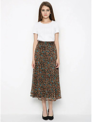 Going out Casual/Daily Midi Skirts,Cute Street chic Swing Trumpet/Mermaid Knitting Polka Dot Print Spring