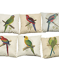 Set of 6 American style  Flowers and birds pattern   Linen Pillowcase Sofa Home Decor Cushion Cover (18*18inch)