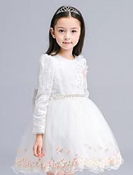 abito di sfera breve / mini vestito dalla ragazza del fiore - collo del gioiello dei manicotti lunghi del organza con applique da ydn