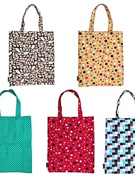 RayLineDo® Pack of 5 Eco-Friendly Resuable Large Multi Color Bohemia Canvas DIY Carry-All Tote Bag Lunch & Grocery Shopping Bags 19x16 Inches