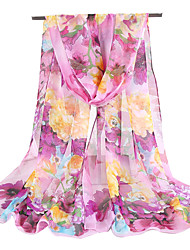 cheap -Women Vintage Chiffon Thin Scarf Cute Party Casual Rectangle Red Pink Purple Khaki Print