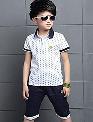 cheap -Boys' Daily Sports Going out Polka Dot Clothing Set,Cotton Summer Short Sleeve Dot White Red Navy Blue Yellow
