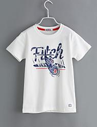 preiswerte -Jungen T-Shirt Alltag Geometrisch Baumwolle Sommer Kurzarm Weiß