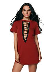 Femme Lacet Moulante Robe Soirée Sexy,Couleur Pleine Col Roulé Mini Manches Courtes Rouge Gris Polyester Spandex Eté Taille Haute Elastique Fin