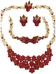 Jewelry Set Earrings Set Necklace/Bracelet Ring Crystal RhinestoneCircular Unique Design Rhinestones Geometric Floral Fashion