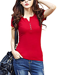 cheap -Women's Daily Plus Size Casual Street chic Summer T-shirt,Solid V Neck Short Sleeves Cotton Thin