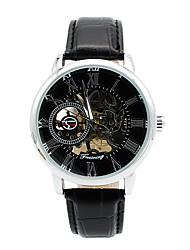 cheap -Men's Fashion Watch / Skeleton Watch / Mechanical Watch Leather Band Charm / Casual Black / Brown