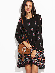 HOT! M-2XL Plus Size Women's Going out Casual/Daily Sexy Boho Loose DressPrint Round Neck Above Knee Long Sleeve Polyester Summer