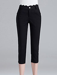 Women's Plus Size Skinny Chinos Pants,Casual/Daily Work Sexy Simple Cute Solid Split High Rise Zipper Button Cotton Nylon Micro-elastic