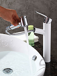 cheap -Contemporary Modern Centerset Pullout Spray Ceramic Valve One Hole Single Handle One Hole Painting , Bathroom Sink Faucet