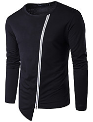 Men's Casual/Daily Beach Sports Simple Active Spring Fall T-shirt,Solid Round Neck Long Sleeve Polyester Medium