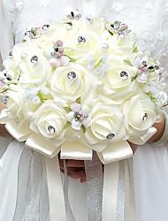 Bouquets de Noiva Redondo Rosas Buquês Casamento Festa / noite Cetim Enfeite Espuma Strass
