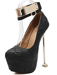 cheap -Women's Heels Club Shoes PU Spring Dress Buckle Stiletto Heel White Black Gray Ruby 5in & over