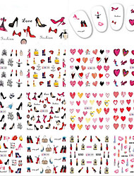 1pcs 12design Beautiful Lovely Red Heart Charming High-heeled Shoes Image Decor Nail Art Sticker Water Transfer Decals Nail Beauty Design BN589-600