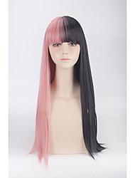 Donna Parrucche sintetiche Lungo Dritto Rosa Parrucca di treccine Treccine afro Con frangia Parrucca naturale Parrucca di Halloween
