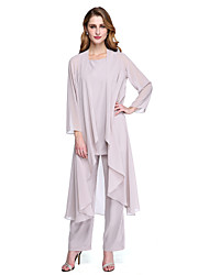 cheap -Pantsuit Scoop Neck Ankle Length Chiffon Mother of the Bride Dress with Pleats by LAN TING BRIDE®