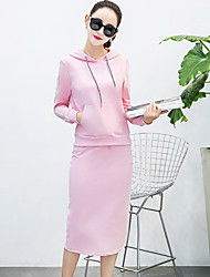 Model real shot Autumn new Korean hooded long-sleeved sweater skirt two-piece split temperament tide
