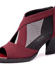 """preiswerte -Damen Modern Leder Sandalen Draussen Blockabsatz Schwarz Rot Blau 2 """"- 2 3/4"""" Keine Maßfertigung möglich"""
