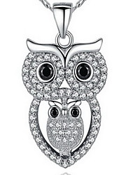 Pendant Necklaces AAA Cubic Zirconia Single Strand Owl Sterling Silver Zircon Cubic Zirconia Rhinestone Basic Luxury Fashion Jewelry For