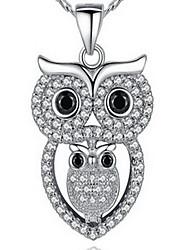 Ожерелья с подвесками Цирконий Одинарная цепочка Сова Стерлинговое серебро Циркон Цирконий СтразыБазовый дизайн Pоскошные ювелирные