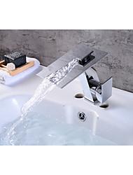 moderne centerset vandfald med keramisk ventil enkelt håndtag ét hul for krom, badeværelse vask vandhane