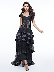 cheap -Ball Gown Off-the-shoulder Asymmetrical Lace Formal Evening Dress with Appliques Pleats by TS Couture®