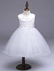 A-Line Knee Length Flower Girl Dress - Organza Sleeveless Jewel Neck with Beading by likestar