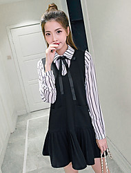 Women's Dailywear School Date Cute Shift Dress,Fashion Shirt Collar Above Knee, Mini Long Sleeves N/A Spring Fall High Rise Inelastic