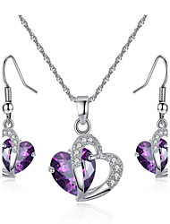 cheap -Women's Jewelry Set Bridal Jewelry Sets Synthetic Amethyst Crystal Crystal Zircon Cubic Zirconia Alloy Heart Love Fashion European Party