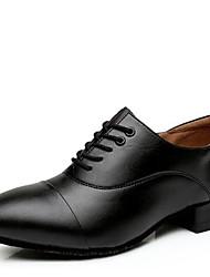 Для мужчин Современный Кожа На каблуках Для открытой площадки На низком каблуке Черный Черно-белый 3 см Не персонализируемая