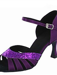 cheap -Women's Latin Jazz Salsa Swing Shoes Paillette Satin Sandal Heel Practice Beginner Professional Indoor Performance Ruffles Buckle