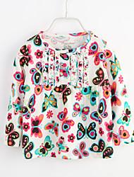 billige -Baby Pige Stribet Blomstret Bomuld Bluse