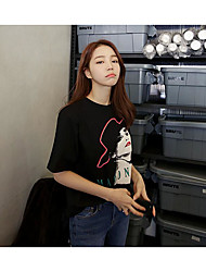 Coréia nova primavera moda cor sólida imagem impressão solta t-shirt