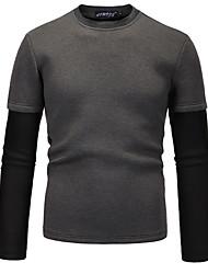 cheap -Men's Sweatshirt - Color Block Round Neck