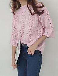 Standard Pullover Da donna-Luna di miele Da mare Strada Semplice Tinta unica Rotonda Manica a 3/4 Non disponibile Autunno Medio spessore