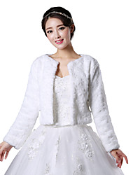 economico -Manica lunga Pelliccia sintetica Matrimonio Da sera Cappotti in pelliccia Coprispalle in pelliccia Wraps Wedding Cappotti/giacche With