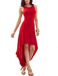 cheap -Women's Party Sheath / Swing Dress - Solid Colored Red, Cut Out / Pleated Asymmetrical