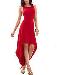 Gaine Balançoire Robe Femme Soirée / Cocktail Sexy simple,Couleur Pleine Col Arrondi Asymétrique Sans Manches Bleu Rouge Noir Violet