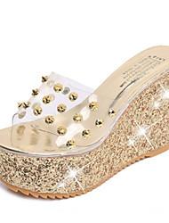 Women's Sandals Comfort PU Spring Summer Casual Dress Comfort Wedge Heel Gold Silver 2in-2 3/4in