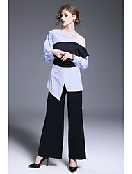 Недорогие -Жен. Офис Рубашка, Рубашечный воротник Контрастных цветов