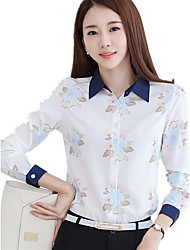 Women's Floral Patterns Shirt Collar Plus Size OL Floral Print Cut Out Long Sleeve Chiffon Shirt