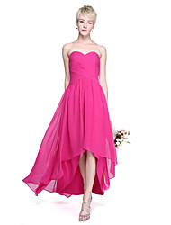 cheap -A-Line Sweetheart Asymmetrical Chiffon Bridesmaid Dress with Criss Cross Ruching by LAN TING BRIDE®