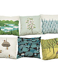 cheap -Set of 6  Bee forest  pattern Linen Pillowcase Sofa Home Decor Cushion Cover (18*18inch)
